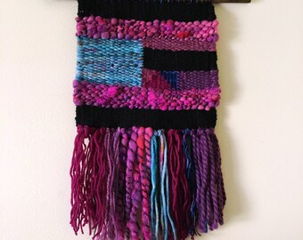 Handwoven Wall Art / Woven Wall Hanging Tapestry / Fiber Art / Black, Pink, Sea Green, Speckle, Art Yarn, Purple, Texture