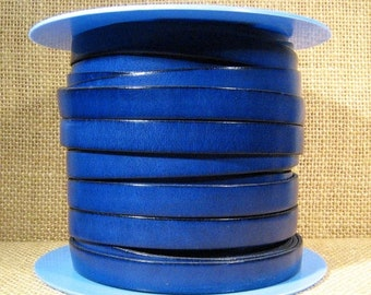 10mm Flat Leather - Electric Blue - 10F-27 - Choose Your Length