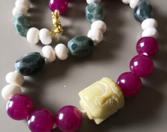 Chunky necklace, natural jasper knotted necklace, jade buddha statement necklace, jade stone necklace, chunky bead necklace, natural stones