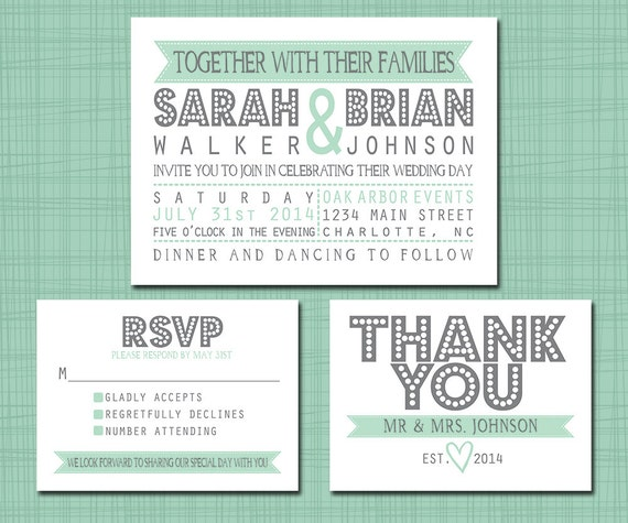 Printable Wedding Suite Invitation RSVP Thank You Set