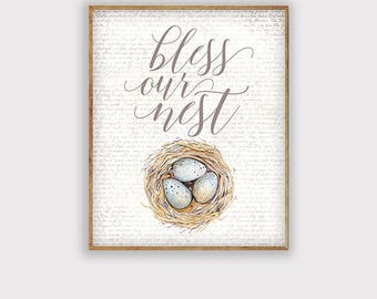 Bless Our Nest Easter Art Print, Easter Art Printable, Spring Art, Rustic Farmhouse Spring Art Print, INSTANT DOWNLOAD