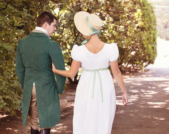 Regency Drawstring Gown with Short Sleeves