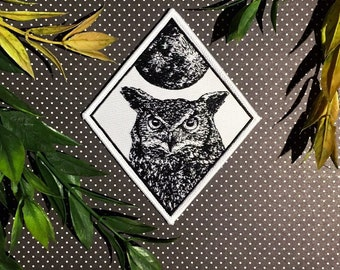 Ensemble de hibou Patch lune Patch fer sur tissé Patch Patch grand-duc fer-sur Patch Patchgame Howling Wolf Patch loup pleine lune Patch brodé