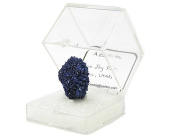 Blue Azurite Crystal Cluster Thumbnail Mineral Specimen from an estate gemstone collection mined in Utah