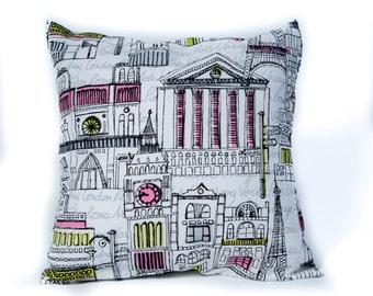 City Pillows. 14x14 Pillow Cover. Decorative Pillows. Colorful Pillows. Streets of the World. Custom Pillows. Pillow Case. Accent Pillows