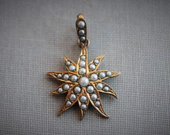 Victorian Seed Pearl Star Pendant / Antique Pearl Flower Pendant / Victorian Bookchain Pendant / Antique Bridal Jewelry