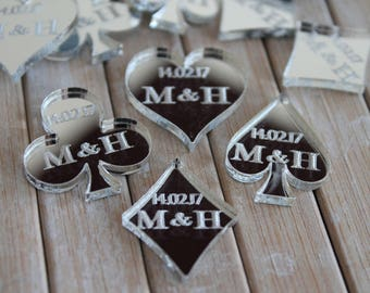 Casino Theme Playing Card Suits Silver Acrylic PERSONALISED wedding Table Confetti