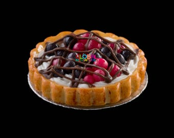 Dollhouse Miniatures Cherry Cream Chocolate Lattice Tart - 1:12 Scale