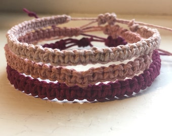 Set Of Three Deal Hemp Stack Bracelets. Adjustable. Handmade Hemp Bracelets. Color Scheme Bracelets. Hemp Jewelry.