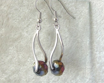 Crystal Earrings - Iridescent Gold and Silver