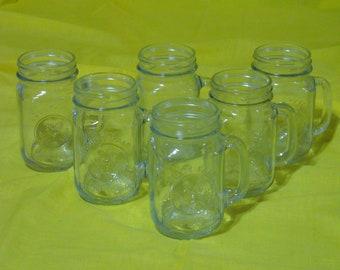 Farmhouse Pint Drinking Glasses, Set of 6 County Fair Drinking Jars