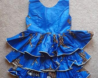 Blue African Print Girl's Dress with Ruffled Skirt