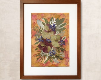 Pressed Flowers Dried Flowers Painting Wall Art Dry Flower Home Decor Pressed Flower Art Unique Wall Art Pressed Botanical Pressed Flowers