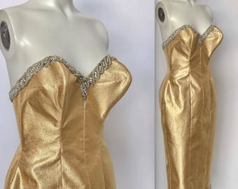 Vintage 1950s 50s Gold Lame Lurex Repo Strapless Tight Burlesque Showgirl Wiggle Hourglass Dress Rhinestones