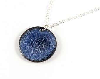 Copper and Enamel Necklace, Vitreous Enamel Necklace, Blue Enameled Copper, Glass Pendant, Blue Necklace