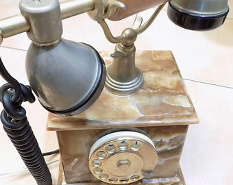 Phone fixed/Italian/Vintage Onyx and marble/plated gold 24 carat/year 1950 Italian 1960/Design. Vintage phone/gift idea.