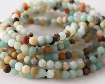 Strand Gemstone Amazonite Round Frosted Beads  White Blue Turquoise Natural Yellow Size 6mm Quantity 63 Beads