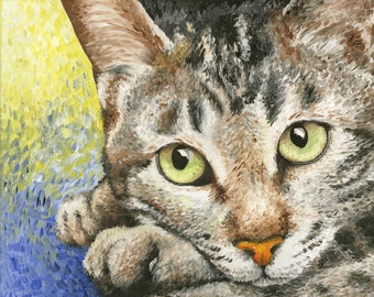 Tabby Cat Art Print of Oil Painting - 8 x 10""