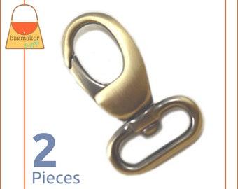 "3/4 Inch Swivel Snap Hooks, Antique Brass / Bronze. Lobster Claw, 2 Pieces, .75 Inch, 3/4"", Handbag Purse Bag Making Hardware, SNP-AA021"
