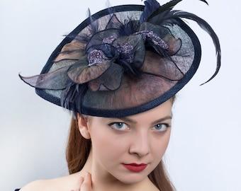 Derby hat, Royal Ascot fascinator, Kentucky derby headpiece, Multicolor navy hat, Derby fascinator hat, wedding fascinator, derby headpiece