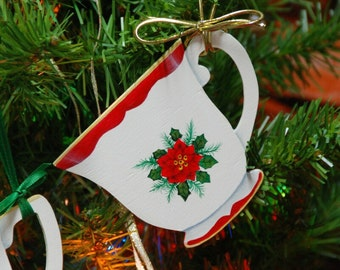 Unique wooden Tea Cup Christmas ornament gift keepsakes, handmade and handpainted in USA, elegantly gift wrapped.
