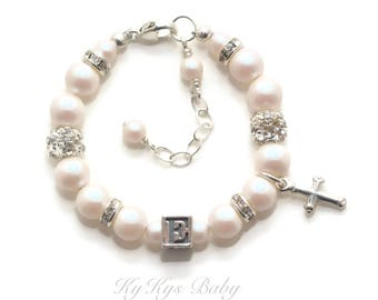 Baby Initial Bracelet Personalized Baptism Bracelet Baby Bracelets Christening Gifts Baptism Gift FREE Gift Box Baby Girl Baptism Jewelry