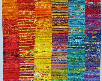 Art Quilt, Wallhanging, Colorful Quilted Wall Art, Abstract