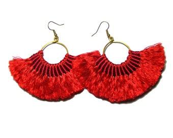 Red Earrings, Red Fan Hoop Earrings, Boho Style