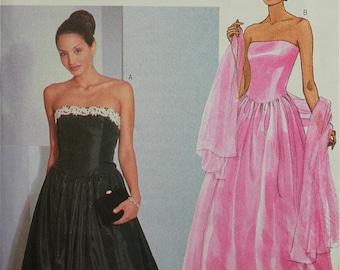 "Evening Dress & Stole -1990's-  Butterick Pattern 6398 Uncut  Sizes 12-14-16  Bust 34-36-38"""