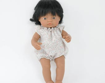 Miniland Doll clothes, 16 inch doll clothes, romper for Miniland, floral romper, Miniland doll romper