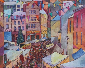 Festive Market, Frome, Original Oil on Canvas Painting by Amy Yates