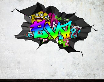 Graffiti Wall Decal Etsy - Custom vinyl wall decals graffiti