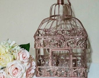 Small Rose Gold Birdcage- Wedding card holder