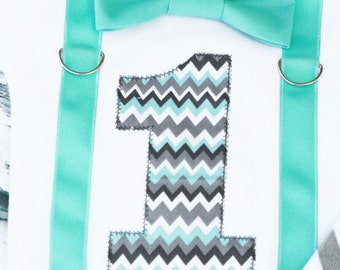 Baby Boy Chevron Grey teal Boy bow tie and Suspenders set, Bow tie Number 1, Boy First Birthday, Boy Cake Smash Outfit, Boy 1st Birthday,