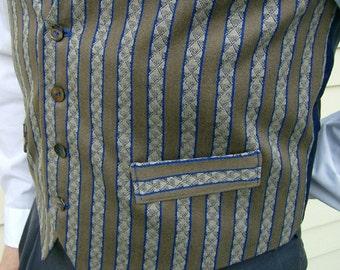 Menswear Blue Beige Classic Stripes Fashion Vest