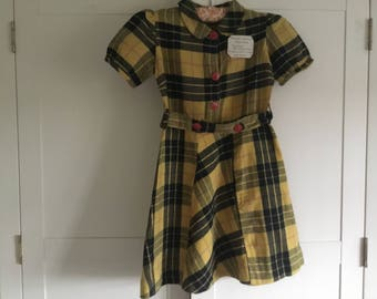 Vintage handmade checked girls dress, yellow and black check brushed cotton