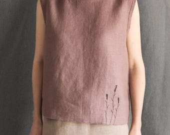 Linen top linen blouse dusty pink tank top embroidered blouse linen summer blouse loose linen shirt short sleeve linen womens clothing