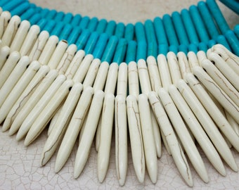 Howlite Stick Needle Spike Long Point Full Strand Beads (White Turquoise / Blue Magnesite Turquoise)