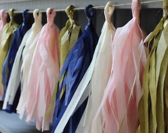 NAVY BLUSH GOLD- wedding decor- navy gold blush bridal shower- navy gold blush tissue garland- tissue garland- navy blush nursery- wedding