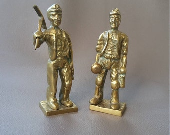 Two miners figurines, made in Solid Brass, one with removable Pick axe