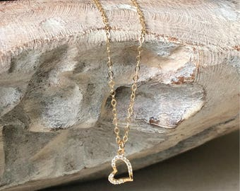 Dainty Gold Micro Pave CZ Heart Necklace