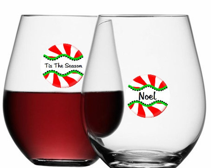 Christmas Wine Glass Dots -  Peppermint Twist Disposable 6 Pack, Glass Not Included