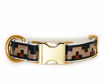 Navy blue adjustable geometric collar, tribal pattern collar, brass hardware, cotton webbing