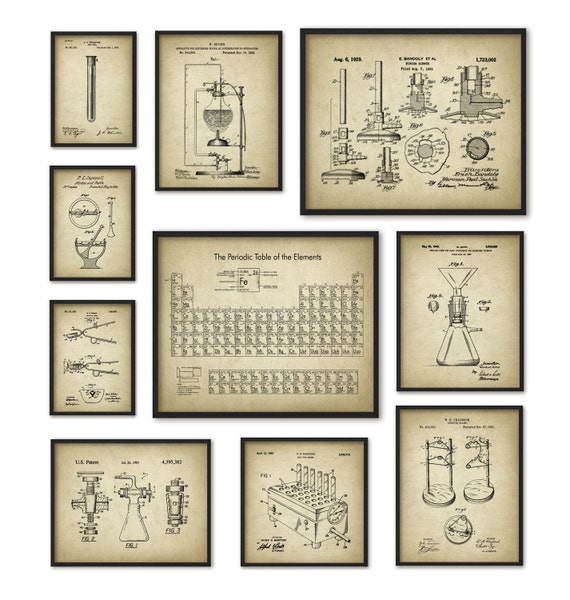 Chemistry art print set of 10 periodic table of elements urtaz Images