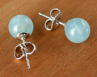 Natural Aquamarine Stud Earrings, 7 mm round ball Aquamarine stones, Sterling Silver posts and ear-backs