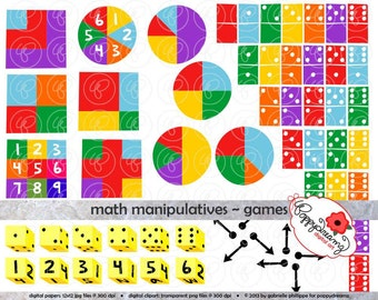 Math Manipulatives Games Clipart Set - (300 dpi) School Teacher Clip Art Numbers Math Dice Dominoes Spinners Game Boards Pointers