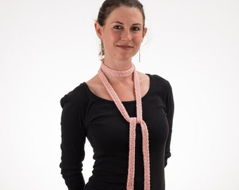 Choker Scarf, Long Thin Scarf, Skinny Scarf, BLUSH PINK, Silk and Bamboo - 201