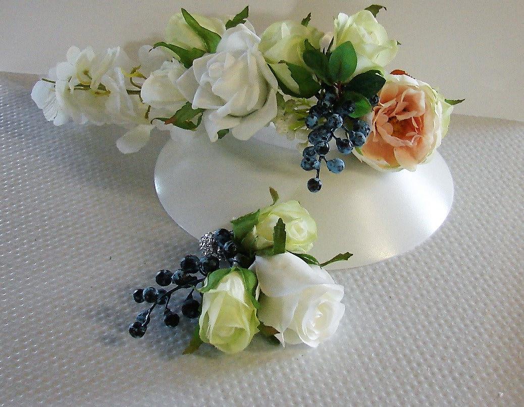 Trailing Cake Topper In Silk Flowers Wedding Cake Topper Blush