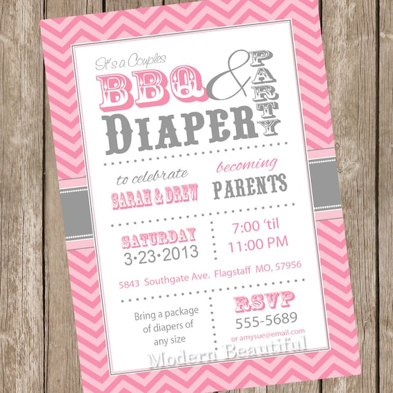 Chevron couples bbq and diaper baby shower invitation filmwisefo Gallery