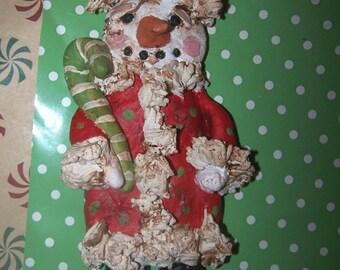 Folk Art Primitive Bakers Clay Ornament Let it Snow Snowman Santa